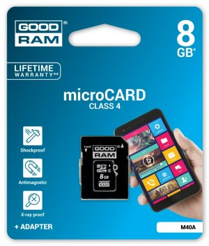 Karta Goodram micro SDHC 8GB class4 + adapter SD