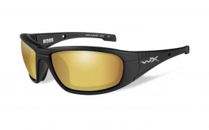 Okulary BOSS Polarized Amber Gold Mirror, Matt Black Frame