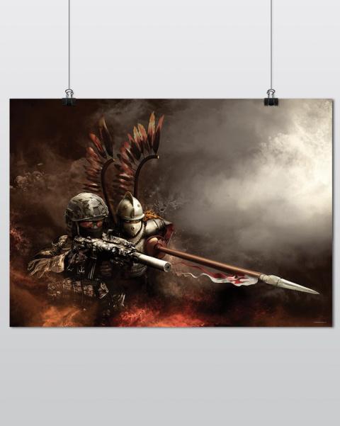 Plakat Patriotyczny Grom Husaria